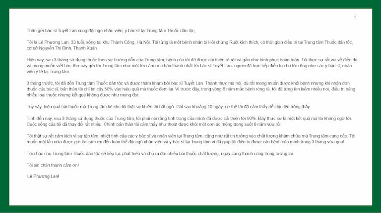 Ảnh chụp từ email của chị Lan