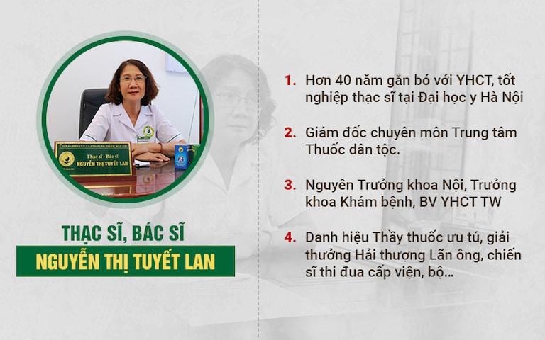 hạc sĩ, bác sĩ Nguyễn Thị Tuyết Lan - Nguyên Trưởng khoa Nội, khoa Khám bệnh Bệnh viện YHCT TW